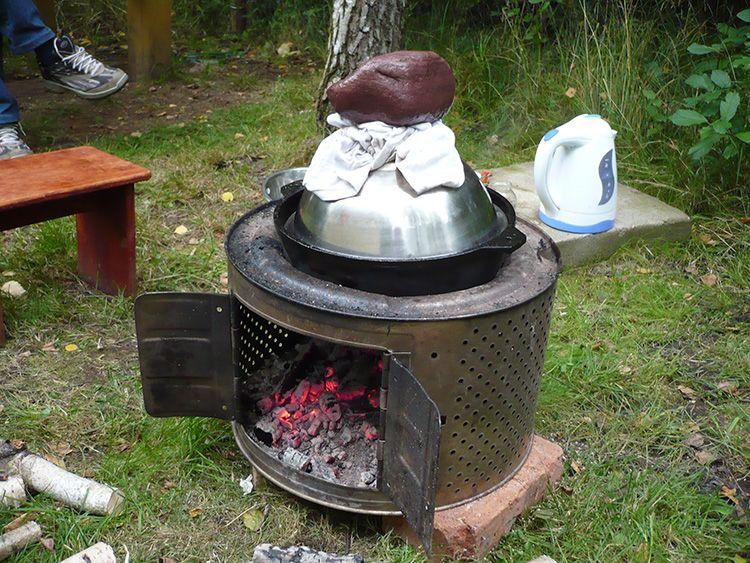 Вариант реализации идеи мангала из барабана от стиральной машины.