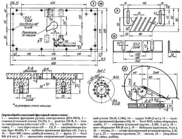 деревообрабатывающий фрезерный мини станок схема