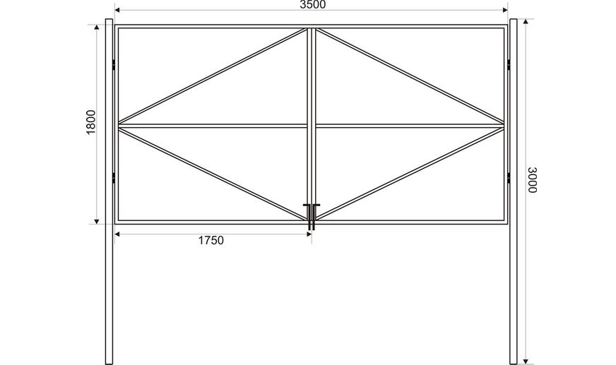 В середину рамы приваривают горизонтальную поперечину и от нее две диагональные распорки - прочная конструкция при минимальных затратах