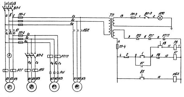 Электрическая схема станка 1к62