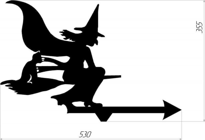 Ведьма с кошкой (есть размеры)