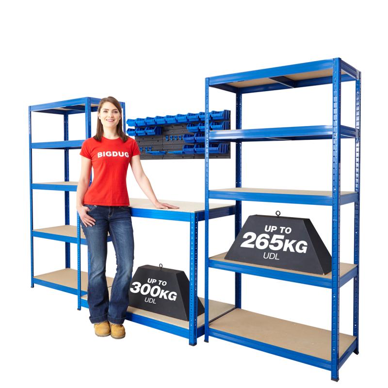 Металлический стеллаж способен выдержать большой вес хранимых деталей