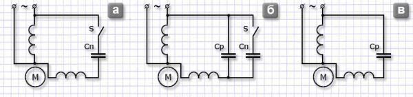 Варианты подключения конденсатора к электродвигателю