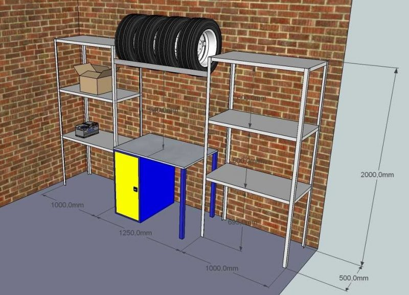 Пристенный стеллаж с двумя рядами опор для гаража наиболее практичен