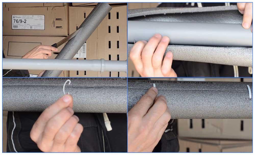 Монтаж теплоизоляционных трубок