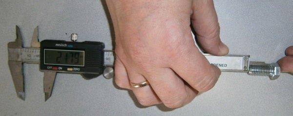 Измерения длинны болта (L)