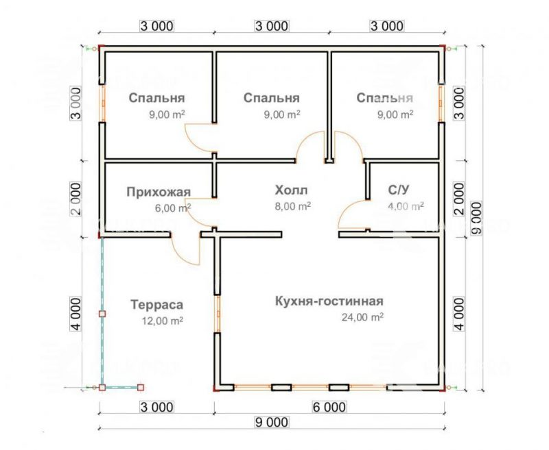 План проект одноэтажного прямоугольного дома