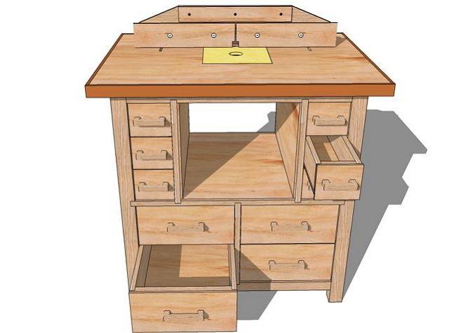 Чертежи фрезерного стола с дополнительными ящиками для хранения