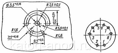 Разметка для крепления и маркировка выводов реле РЭС-9